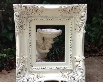 "ON SALE Stunning White FRAME Vintage Shabby Chic Extra Wide Large Frame 17"" x 19"" Hand Painted in French White and Distressed"