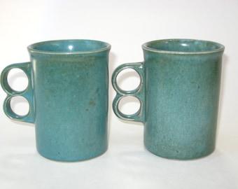 Bennington Potters Vermont Set 2 EARLY Trigger Mugs #1340 Cooperative Design Teal David Gil