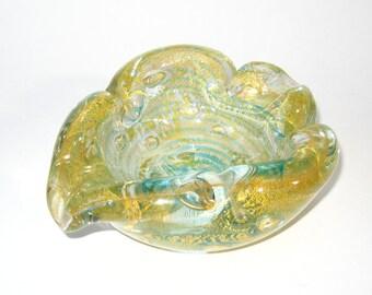 Rare Ercole Barovier & Toso Murano Zebrati and Bolle / Pulegoso Gold Leaf Bowl or Ashtray