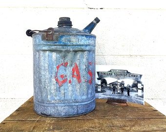 Galvanized METAL GAS CAN | Vintage c.1930's Metal Gasoline Container | Galvanized Zinc | Small One-Gallon Can | Primitive | Rustic | Garage