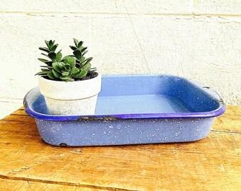 Enamelware Baking Pan | Light Blue and White Graniteware Rectangular Dish | Vintage Speckled Enamelware Baking Dish | Enamel Cookware