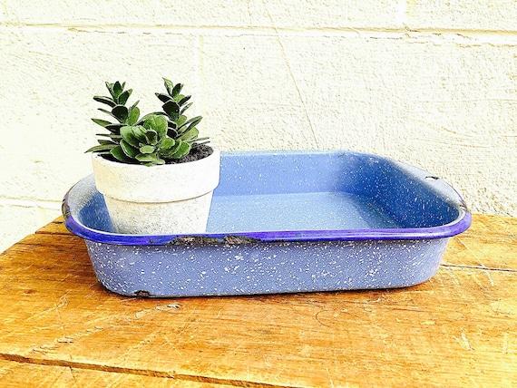 Enamelware Baking Pan Light Blue And White Graniteware