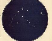 Vintage 1920 Edwardian CYGNUS SWAN Map 7 Stars astronomy print star chart zodiac constellations Celestial Maps