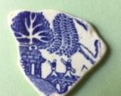 Rare 'Beach Pottery' Willow Pattern shard