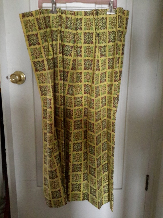 40s Barkcloth Curtains Yellow Jadeite And Brown By