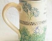 ceramic blue flower coffee mug 16oz stoneware 16A011