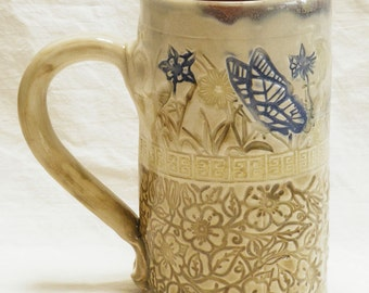 ceramic butterfly coffee mug 16oz  stoneware 16A060