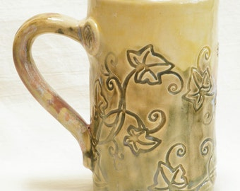 ceramic floral coffee mug 16oz  stoneware 16A032