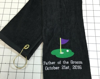 Personalized Golf towel, great gift idea, wedding party, personalized, father of the bride, father of the Groom, choice of size, 16 x 27