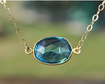 SALE London Blue Topaz Necklace - Blue Topaz Gold Necklace - December Birthstone Necklace - Birthstone Jewelry - Blue Topaz Choker Necklace