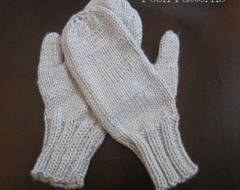 Knitting PATTERNS - Easy Two Needle Mittens Pattern - Mittens Knitting Pattern - Knit Mittens Pattern - PDF 172