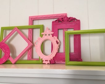Empty Gallery Frames, Shabby Vintage Frame Set, Open Frames, Gallery Wall Frames