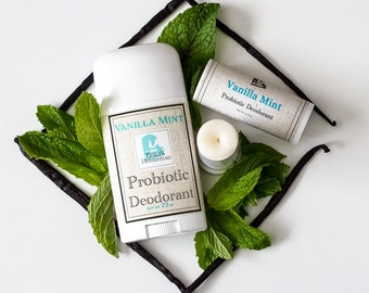 Vanilla Mint Probiotic Deodorant with Magnesium - All Natural