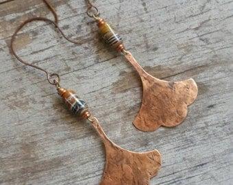 Ginkgo Leaf Earrings Long Rustic Brassy Copper Earrings