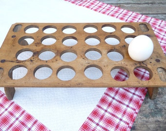 Vintage Wood Egg Tray Egg Crate European French Country Kitchen Rustic Wood Tray Egg Holder