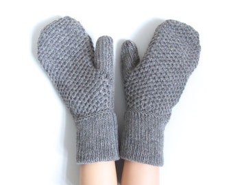 SALE! 50% OFF! Chunky Knit Mittens Knitted Gloves Mittens Cashmere Knit Gloves Wool Gloves Mittens Merino Wool Chunky Cashmere Mittens Wool