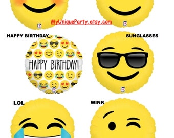 "Emoji Balloons 18"" Mylar Emoticons Smiley, Love, Happy Birthday, Sunglasses, I Heart You, Wink / 24"" Poop / Photo Prop"