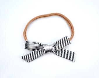 Linen School Girl Bow or Nylon Headband -Black and White Stripes- Petite Fabric Hair Bow