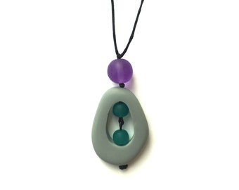 Resin Nursing Necklace/ Breastfeeding Necklace - Monkey Mama Twiddle Buster - Dove Grey, Teal and Purple