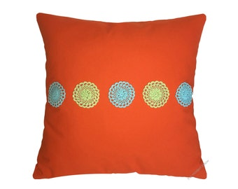 Orange Doily Decorative Throw Pillow Cover / Pillow Case / Cushion Cover / Cotton / 20x20""