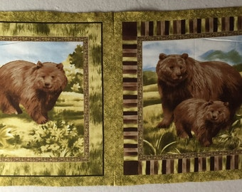 Vintage Bear Pillow Panel