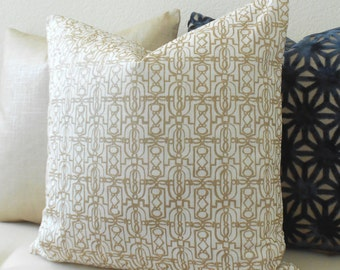 Metallic soft gold geometric trellis fretwork decorative pillow cover