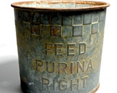 old PURINA Feed Advertising Bucket, American Farmhouse Antiques, American style
