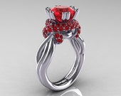 Classic 14K White Gold 3.0 Ct Rubies Knot Engagement Ring R390-14KWGR