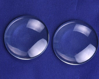 40mm Round Clear Glass Dome Cabochon Glass Tile Flatback Crystal Magnifying Cameo Base Cover 50PCS  C1177