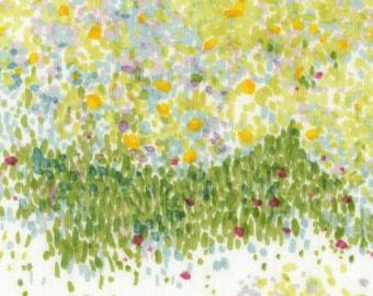"Nani Iro Bird's Eye in ""Ibuki"" green scattered on white cotton double gauze fabric, by the yard"