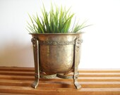 Vintage Brass Planter Pot and Plant Stand, Hollywood Regency, Vintage Jardiniere, Brass Flower Pot, Brass Plant Stand