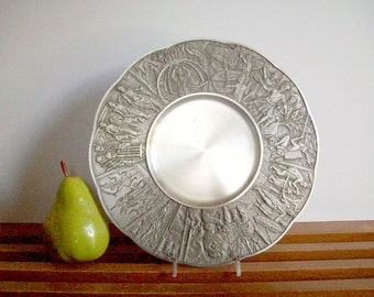 Royal Selangor Pewter Ornamental Plate, Decorative Pewter Plate, Tribal Design, Malaysian, Vintage Pewter Tray