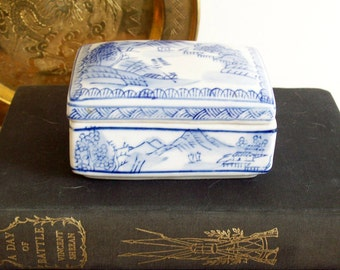 RESERVED FOR BRITTANY  and White Porcelain Trinket Box, Vintage Chinoiserie, Jewelry Box, Asian Decor