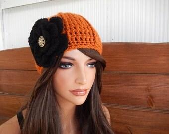 Womens Hat Crochet Hat Winter Fashion Accessories Women Beanie Cloche Hat in Burnt Orange with Black Crochet Flower