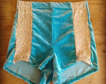 High waist velvet sequin shorts