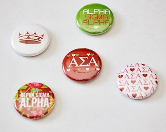"""Alpha Sigma Alpha 1"""" Buttons, Sorority Buttons"""