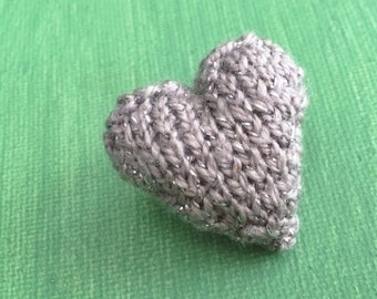 Knitted Heart Brooch