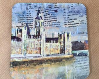Dessous de verre Londres - Big Ben et la Tamise artiste collage