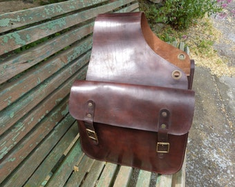 Antique leather horse saddle bag brown leather horse backpack western bag tooled horse bag French 1900s horsemanship, trail riding bag