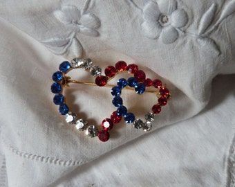 Vintage French heart brooch Valentine love gift we love France patriotic flag, blue clear red rhinestone brooch pin w heart design jewelry