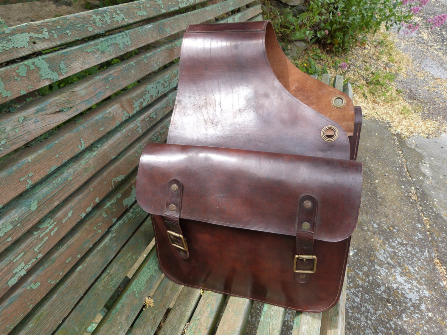 Antique Leather Horse Saddle Bag Brown Leather Horse Backpack