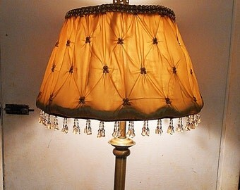 Gold Silk 50's Lamp Shade with 40's 3 Style Dangling Beads, Pearl Sequin Top Trim, Puckered Gathered Gold Silk, Handmade by Me. Only 125.00