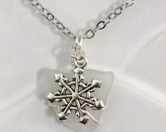 SALE...Snowflake Sea Glass Necklace Stocking Stuffer Christmas Gifts Winter Gift Beach Jewelry Mom Girlfriend Sister Women's Gift