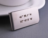 Latitude Longitude Money Clip, Gift for Groom, Stainless Steel Money Clip,