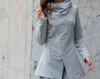 Light Grey Cotton Fleece Jacket / High Collar Coat / Warm Winter Jacket - Custom made - NC741