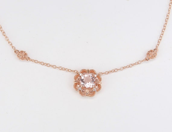"""Diamond and Morganite Halo Flower Pendant Necklace Rose Pink Gold 17"""" Chain"""