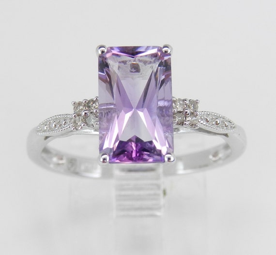 Diamond and Amethyst Engagement Promise Ring Size 7 White Gold Radiant Cut