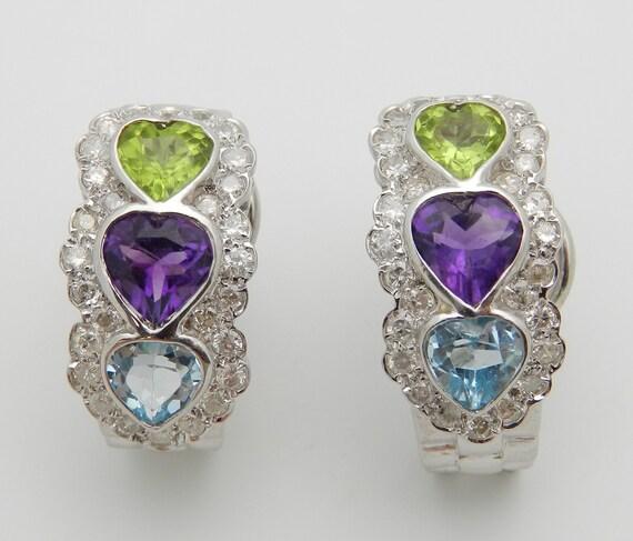Heart Amethyst Peridot Blue Topaz Diamond Three Stone Earrings 14K White Gold