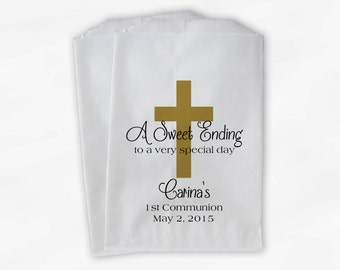 First Communion Favor Bags - Baptism or Religious Party Custom Favor Bags - Set of 25 Black and Gold Paper Treat Bags (0073)