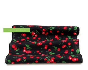 "Sale: Cherry Print Table Runner 14"" x 108"" Cotton"